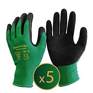 GRÜNTEK Gardening Gloves - 5 Pairs Size M / 8. Gloves Latex coated, for private and commercial use (M / 8)