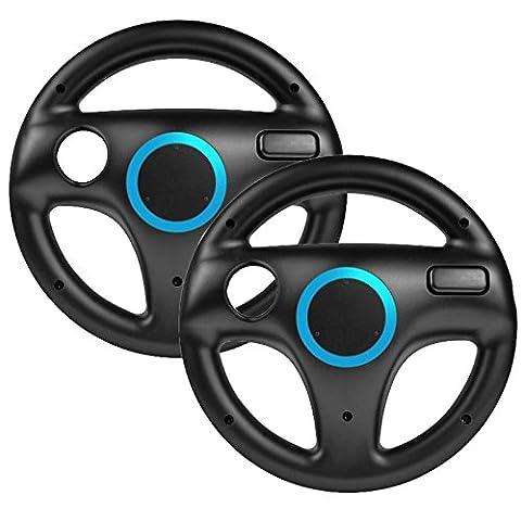 booEy® 2x Lenkrad Wheel für Nintendo WII und Wii U Mario Kart schwarz (Wii Wheel)