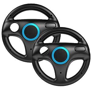 booEy 2x Lenkrad Wheel für Nintendo WII, WII mini und Wii U Mario Kart schwarz