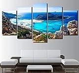 LQHQT Impressions sur Toile,5 Pièces Bleu Mer Plage Île Paysage Marin Peinture Décoration Décoration Affiche Murale Oeuvre (sans Cadre) 40 * 60Cm * 2 40 * 80Cm * 2 40 * 100Cm