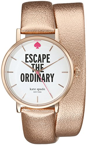kate spade new york Women's 1YRU0301 Rose Gold-Tone Stainless Steel Watch with Leather Band