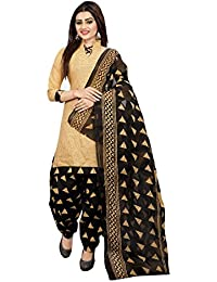 Om Tex Creation Women's Cotton Printed Salwar Suit - OTC710_Beige And Black_Free Size