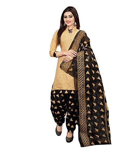 Sretan Women's Cotton Salwar suit Un stitched Dress Material (Beige and Black)