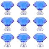 sourcingmap 9 Pcs Kristallglas Möbel Schubladengriff Schrank Griffe Blau 1,2 Zoll Außen Dmr.