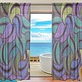 yibaihe Sheer Lang Fenster Vorhang Panels Fashion Schöne Einrichtung lila und Dunkelgrün Muster 139,7cm W x 198,1cm L Set 2Stück für Wohnzimmer Schlafzimmer Küche Fenster, Textil, multi, 55