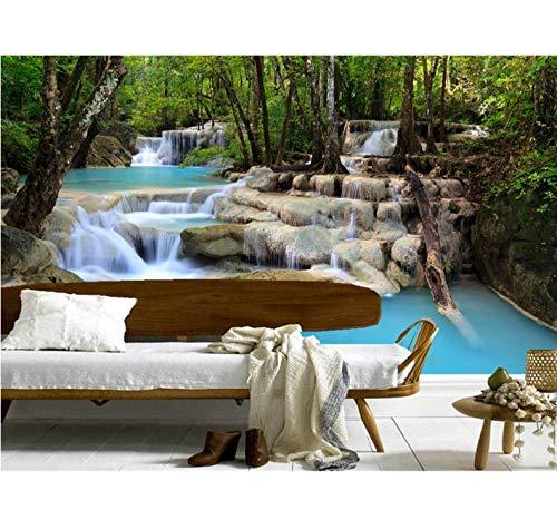 Mkkwp Benutzerdefinierte 3D Wasserfälle Wälder Steine Bäume Natur Tapete, Wohnzimmer Sofa Tv Wand Schlafzimmer Wasserfall Wandbild Tapete-250Cmx175Cm
