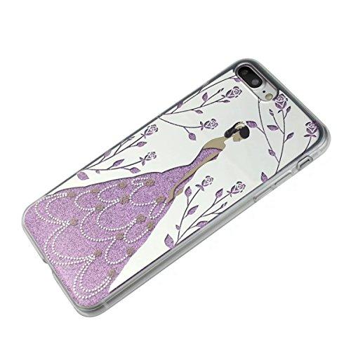 MOONCASE iPhone 7 Plus Coque, Bling Glitter Etui TPU Silicone Antichoc Housse Case pour iPhone 7 Plus (Arbre Fille - Argent) Arbre Fille - Rose