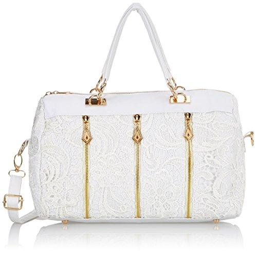 Zehui Damen Baguette Schultertasche Handtasche (Weiß)