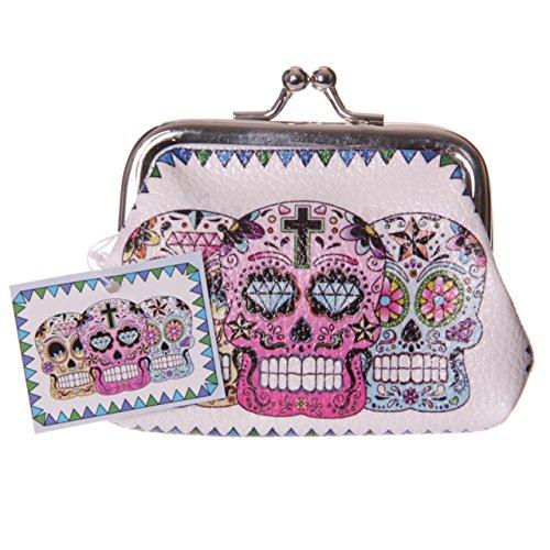 Kleine bunte Damen Geldbörse TOTENKOPF Tag der Toten Skull Portmonee (Tote Geldbörsen)