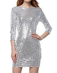 Idea Regalo - Tomwell dress matita paillettes donna maniche lunghe scollo a v abito festa di Natale Argento IT 42