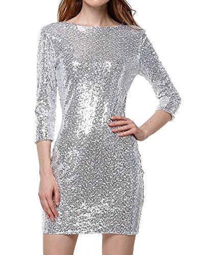 Tomwell Damen Mädchen Langarm Grün Pailletten Minikleid Silber DE 38