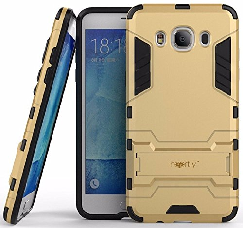Heartly Graphic Designed Kick Stand Hard Dual Rugged Armor Hybrid Bumper Back Case Cover For Samsung Galaxy J7 (2016) - Mobile Gold