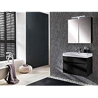 SAM® Badmöbel Set 2 Tlg, Parma, Hochglanz Schwarz, Softclose Badezimmermöbel