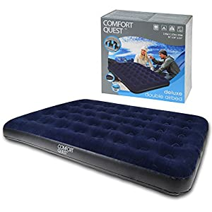 51bRzrn9BiL. SS300  - Comfort Quest Double Airbed, Inflatable Guest Air Bed, Blow Up Camping Mattress, Flocked Surface, Coil Beam Construction, L191cm x W137cm x D22cm, Max Weight 295kg