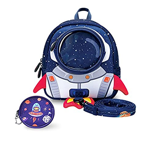 Yisibo Kids Backpack Kindergarten Enviromental Backpacks 3D Cartoon Cute Animal Schoolbags Zoo Hiking Traveling Camping Toddler Sidekick Pack (Rocket-Blue)