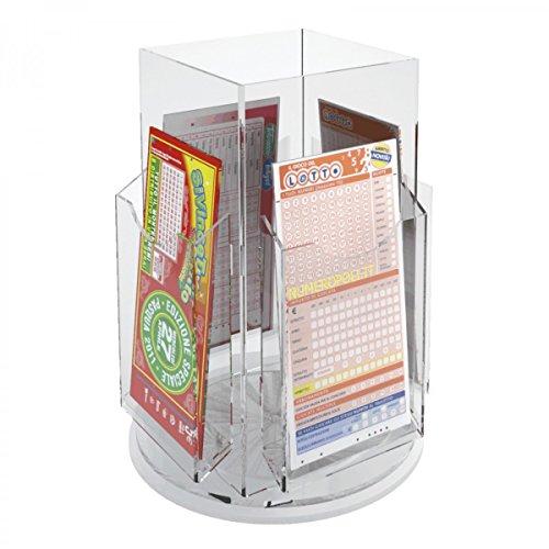 Avà srl Présentoir Jeux de tirage/bulletins de loterie tournant réalisé en Acrylique à 4 Compartiments - Dimensions : 26x 26 x H29 cm