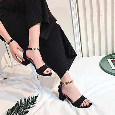 LvYuan Da donna Sandali Tessuto Primavera Estate Footing Fibbia Quadrato Nero Beige Verde militare 2,5 - 4,5 cm Black