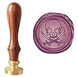Mdlg Lot de tampon vintage crâne et épée Pirates des Caraïbes, tampon, sceau, cire, manche en bois