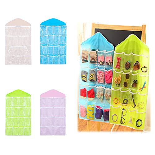 SITAKE 16 Taschen Klar Über Tür Hängen Tasche - Socken BH UnterwäSche Rack KleiderbüGel Aufbewahrungstasche - Tasche Tür Hängende für zu Hause und unterwegs (4 Farben)