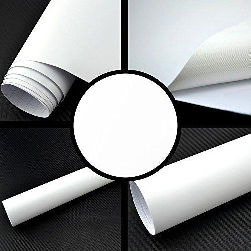 TipTopCarbon 8,55€/m² Matt Weiß 152cm breit Blasenfrei Autofolie selbsklebend mit Luftkanäle 3D Flex Folie Auto