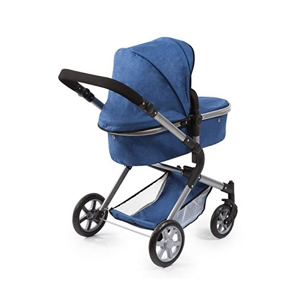 Bayer Design 18135AA City Neo Doll's Pram with Bag and Underneath Shopping Basket, Blue Bayer Design dimension: 82 x 38.5 x 79 cm suitable for dolls up to 52 cm adjustable handle height: 59 - 79 cm 3