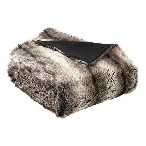 Plaid fausse fourrure Bering Noir 130 x 150 cm