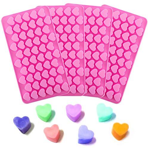 4 moldes silicona forma corazón bombones chocolate