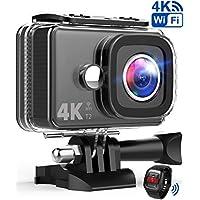 TEC.BEAN Action Cam 14MP Wi-Fi 4K Ultra HD Fotocamera, Impermeabile 45M Immersione Sott'Acqua Camera con Schermo 2 Pollici 170 Gradi Ampia Vista Grandangolare/Telecomando 2,4GHz/ Accessori