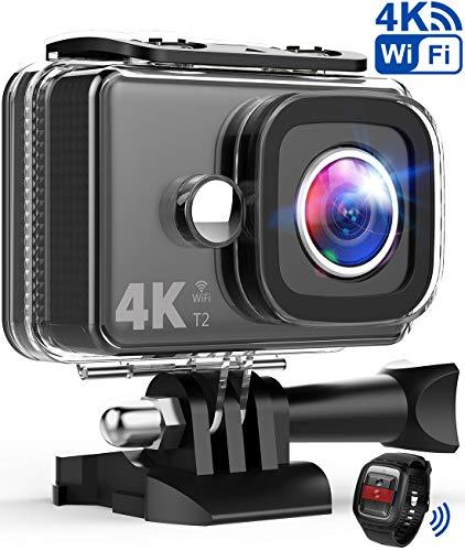 TEC.BEAN Action Cam 14MP Wi-Fi 4K Ultra HD Fotocamera, Impermeabile 45M Immersione Sott'Acqua Camera con Schermo 2 Pollici 170 Gradi Ampia Vista Grandangolare/Telecomando 2,4GHz/ Accesso