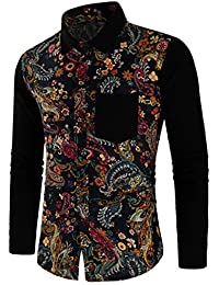 Alician Men Classic Casual Long Sleeve Shirt Slim Flower Printing All-Match Cotton Tops