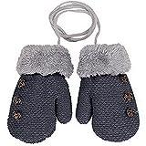 Lalang Gants en tricot pour enfants gants chauds d'hiver (Gris foncé)