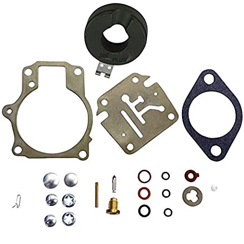 OuyFilters Carburetor Carb Rebuild Repair Kit With Float Fits Many Johnson Evinrude 18 20 25 28 30 35 40 45 48 50 55 60 65 70 75 HP Outboard