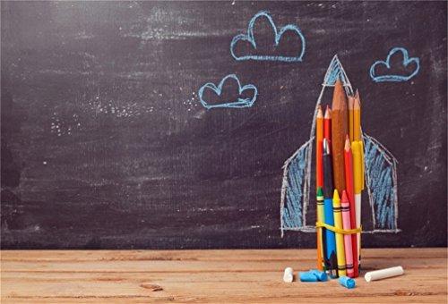 YongFoto 3x2m Vinyl Foto Hintergrund Zurück zu Schule Rocket gebildet von Den Bleistiften Fotografie Hintergrund für Fotoshooting Portraitfotos Party Kinder Fotostudio Requisiten -