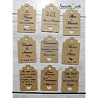 Cartellini carta kraft per bomboniera personalizzati, bomboniere, avana, etichette,matrimonio, battesimo, comunione, tag cresima, kraft cuore