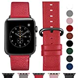 Fullmosa Ersatzband für Apple Watch Armband 42mm und 38mm, Echtes Leder Uhrenarmband für Iwatch Watch Series 3,2,1, Nike+ Hermes&Edition,42mm Rot+graue Schnalle