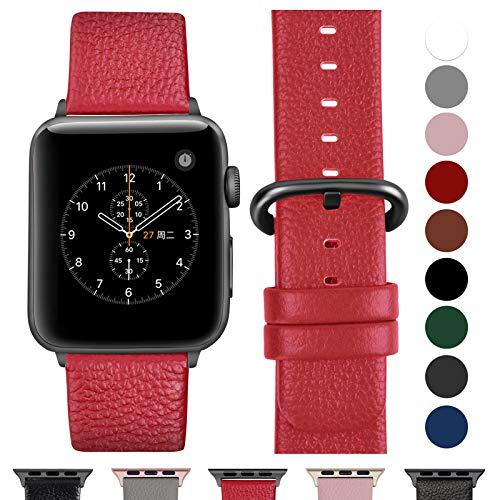 Fullmosa kompatibel Watch Armband 42mm und 38mm, Echtes Leder Uhrenarmband Ersatzband für Watch Series 3,2,1, Nike+ Hermes&Edition,38mm Rot+graue Schnalle