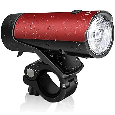 Fahrradbeleuchtung Set StVZO zugelassen 50 Lux KINGTOP LED Fahrrad Frontlicht Rücklicht USB Wiederaufladbar