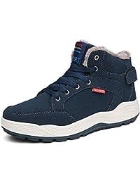 Coolcept Hombre Comodo Cordones Martin Botas Calido Zapatos (40 EU, Brown)
