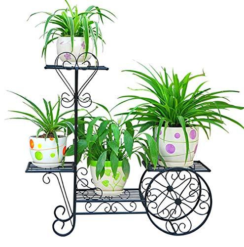 Xzgden espositore per fiori in ferro battuto creativo, espositore per piante in vaso a 4 piani da terra, supporto per vasi di fiori per esterno/interno nero