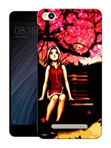 """Humor Gang girl on bench Printed Designer Mobile Back Cover For """"Xiaomi Redmi 4A"""" (3D, Matte Finish, Premium Quality, Protective Snap On Slim Hard Phone Case, Multi Color)"""