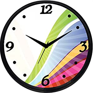 Cartoonpur Round Large Designer Decorative Rainbow Wall Clock - Ticking 11-Inch Wall Clock for Home / Bedroom / Living Room / Kitchen
