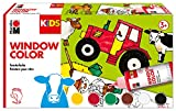 Marabu 0306000000010 Kids Window Color Bauernhof 6 x 80 ml, inklusive Malvorlage und Malfolie, bunt