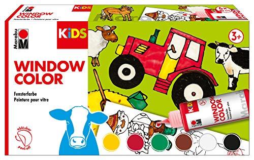 Marabu 0306000000010 - Kids Window Color Farmer, Farbe auf Wasserbasis, ablösbar auf glatten Flächen wie Glas, Spiegel, Fliesen und Folie, 6 x 80 ml Farbe, Malvorlage A3 mit 25 Motiven und Folie A4 Farm Spiegel