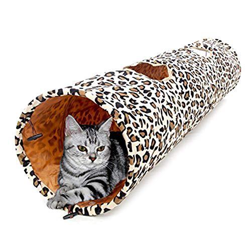 DarweirlueD Faltbare Katzentunnel für drinnen, Katze, Kätzchen, 2 Löcher, Leoparden-Tunnel, Spielzeug