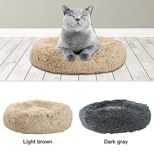 Hualieli Pet Dog Cat Calming Bed Round Nest Peluche Morbido Caldo Confortevole per l'inverno Addormentato