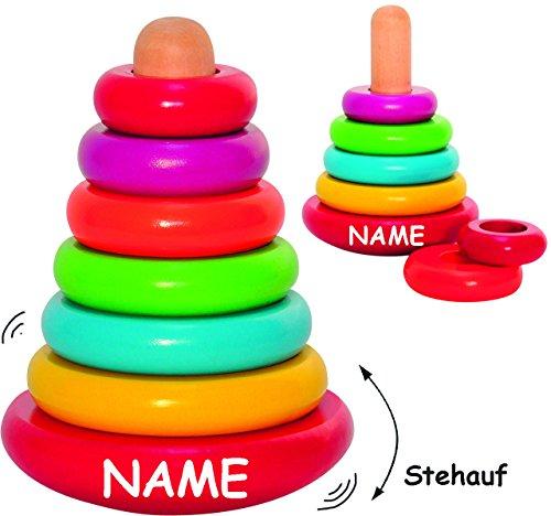 """große Pyramide / Steckpyramide - """" Stehauffigur """" - aus Holz - incl. Name - 7 Teile - Bausteine - Würfel - Pyramide Stapelspiel - Stapelturm / Stapelwürfel - Stapelpyramide - Stehaufmännchen Kinder & Baby / Holzbausteine - Motorik - Stapelklötze / Spielklötze - Holzspielzeug - Stapelfigur - Ringpyramide - Sortierspiel - Motorikspielzeug / Motorikspiel - Stehauf"""