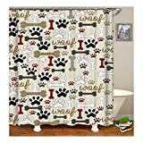 Bishilin Polyester-Stoff 3D Duschvorhang Antischimmel Knochen Haustier Pfote Bad Vorhang für Badezimmer 180X200