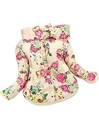 Abrigo de Niñas Floral Casual Caliente Chaqueta Chica Parka Flores Outwear