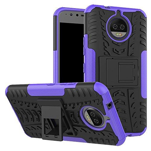 Moto G5S Plus/Moto G5S + Fall, nokea Dual Layer [Tropfen Schutz] Dämpfung Schutzhülle mit Standfuß Combo PC + TPU Rückseite für Motorola Moto G5S Plus 2017, Schwarz/Lila