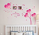 #7: Decals Design Wall Stickers Heart Shaped Flowers in Pink with Blowing Petals and Frames for Bedroom Design (PVC Vinyl, 50 x 70 cm, Multicolor)